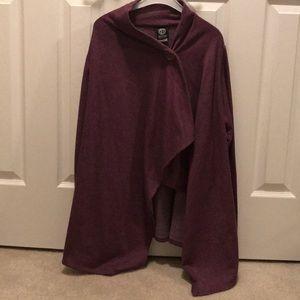 Bobeau fleece drape cardigan, purple, size M